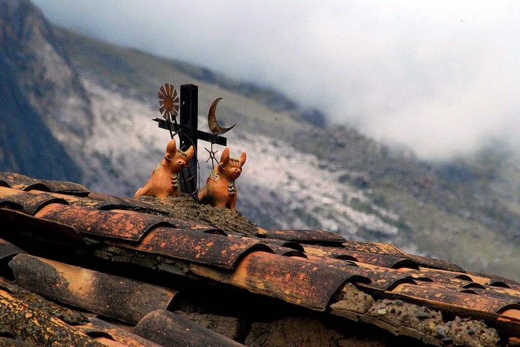 Dachy domów pokryte były figurkami przypominające ozdoby na starych chińskich domach